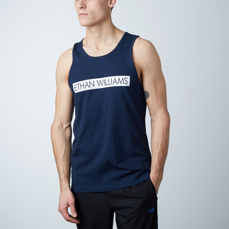 Ultra Soft Semi-Fitted Bar Graphic Tank // Navy + White Print (S)