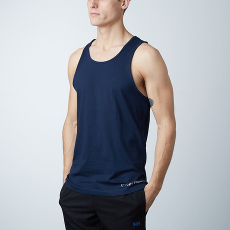 Ultra Soft Semi-Fitted Horizontal Graphic Tank // Navy + White Print (S)