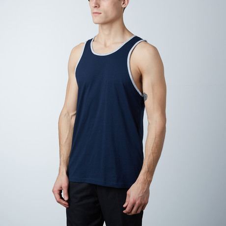 Ultra Soft Semi-Fitted Ringer Tank // Navy + Heather Gray (S)