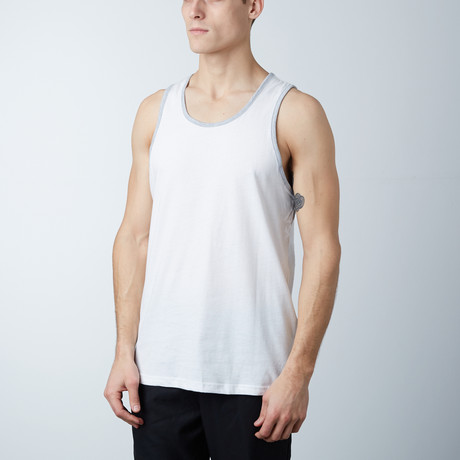 Ultra Soft Semi-Fitted Ringer Tank // White + Heather Gray (S)
