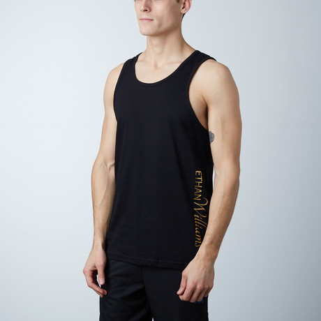 Ultra Soft Semi-Fitted Vertical Graphic Tank // Black + Gold Print (S)