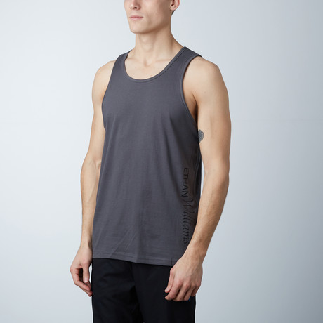 Ultra Soft Semi-Fitted Vertical Graphic Tank // Heavy Metal + Black Print (S)