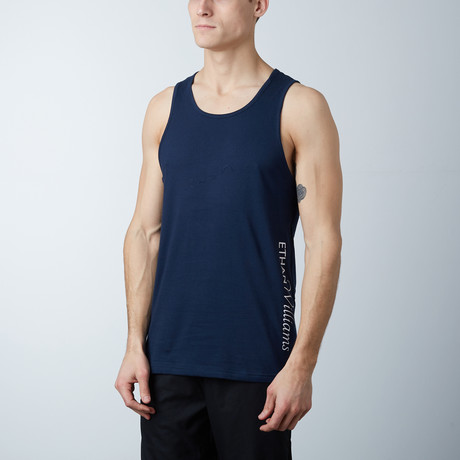 Ultra Soft Semi-Fitted Vertical Graphic Tank // Navy + White Print (S)