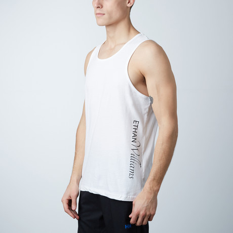 Ultra Soft Semi-Fitted Vertical Graphic Tank // White + Black Print (S)