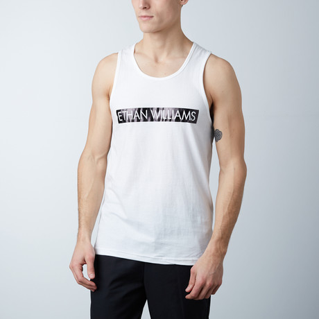 Ultra Soft Semi-Fitted Bar Graphic Tank // White + Black Print (S)