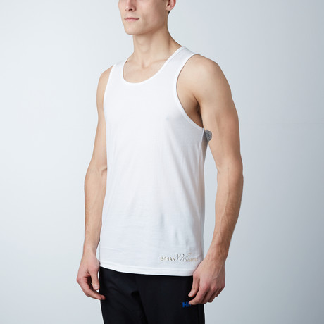 Ultra Soft Semi-Fitted Horizontal Graphic Tank // White + Gold Print (S)