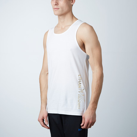 Ultra Soft Semi-Fitted Vertical Graphic Tank // White + Gold Print (S)