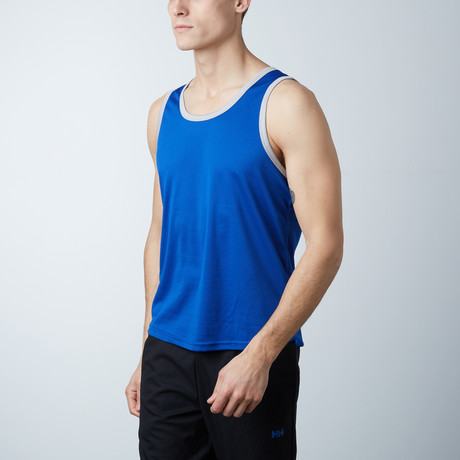 Rapid Dry Performance Ringer Tank // Royal Blue + Silver (S)
