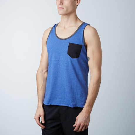 Ultra Soft Semi-Fitted Contrast Pocket Tank // Royal Blue + Black (S)