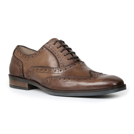 Rigby Stamped Leather Wing Tip // Tan