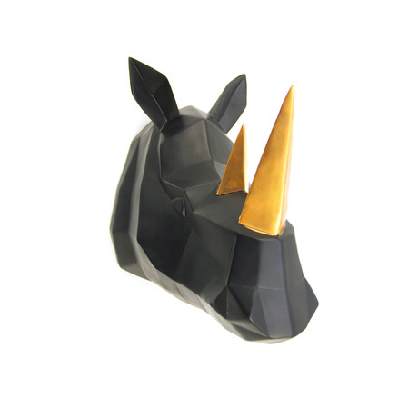 Geometric Rhino Head Wall Art (Black + Gold)
