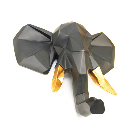Geometric Elephant Wall Art (Black + Gold)