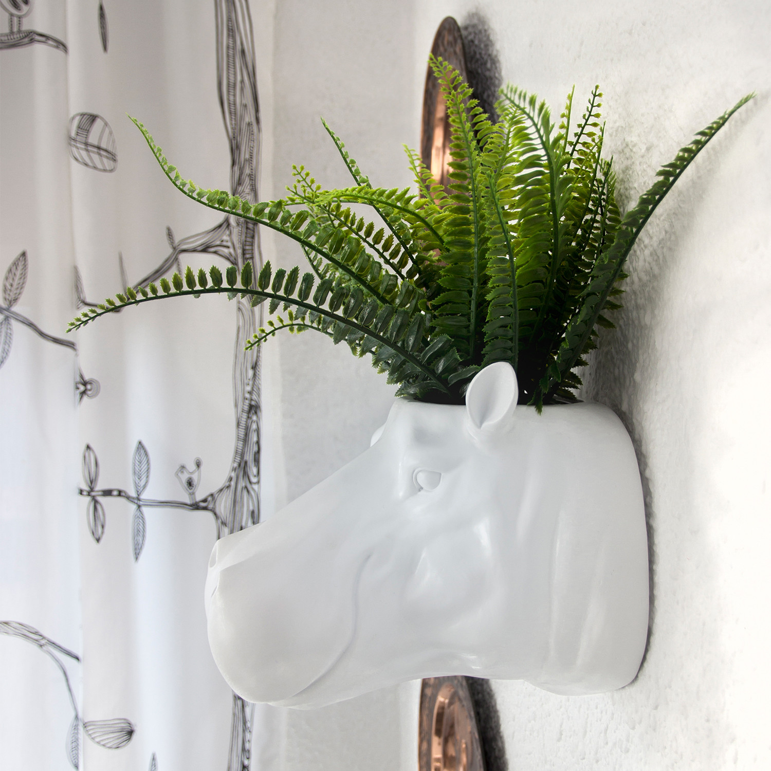 2 In 1 White Hippo Flower Pot Wall Hanging Plant