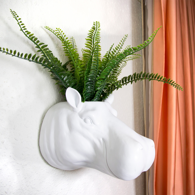 2 In 1 White Hippo Flower Pot Wall Hanging Plant Pot Walplus