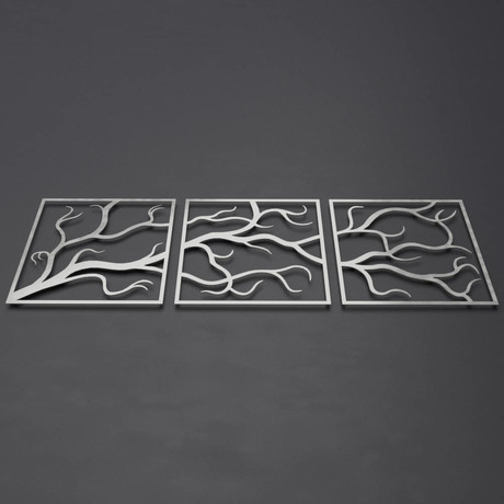 "Tree Branches 3D Metal Wall Art // 3 Piece (24""W x 24""H x 0.25""D)"