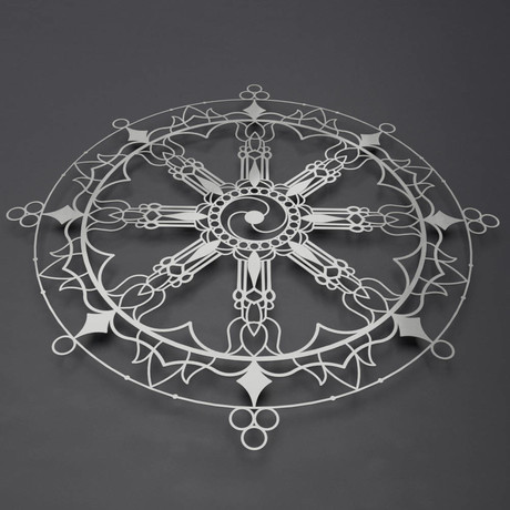 "Tibetan Dharma Wheel 3D Metal Wall Art (36""W x 36""H x 0.25""D)"