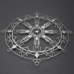 """Tibetan Dharma Wheel 3D Metal Wall Art (36""""W x 36""""H x 0.25""""D)"""