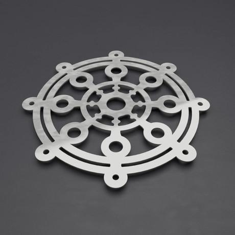 "Modern Dharma Wheel 3D Metal Wall Art (24""W x 24""H x 0.25""D)"
