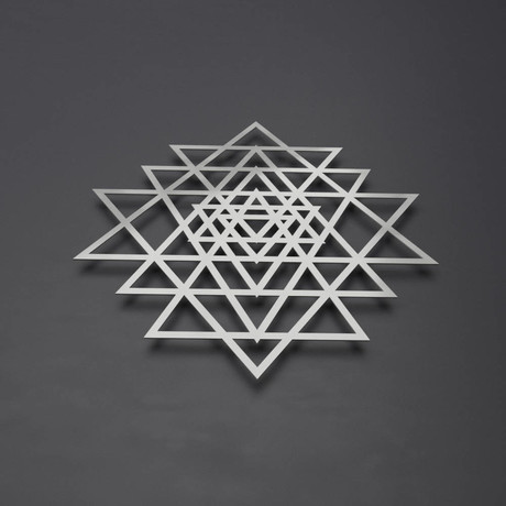 "Sri Yantra 3D Metal Wall Art (24""W x 23""H x 0.25""D)"