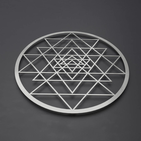 Sri Yantra Circular Metal Wall Art