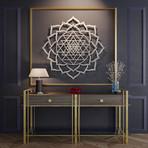 "Sri Yantra Lotus Mandala 3D Metal Wall Art (24""W x 24""H x 0.25""D)"