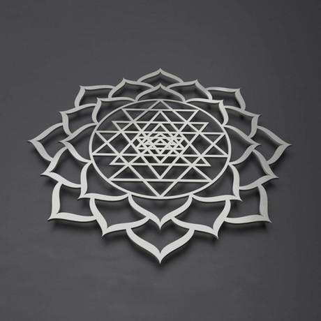 Sri Yantra Lotus Mandala 3D Metal Wall Art