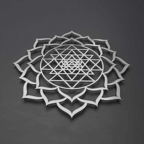 "Sri Yantra Lotus Mandala 3D Metal Wall Art (24""W x 24""H x 0.25""D)"
