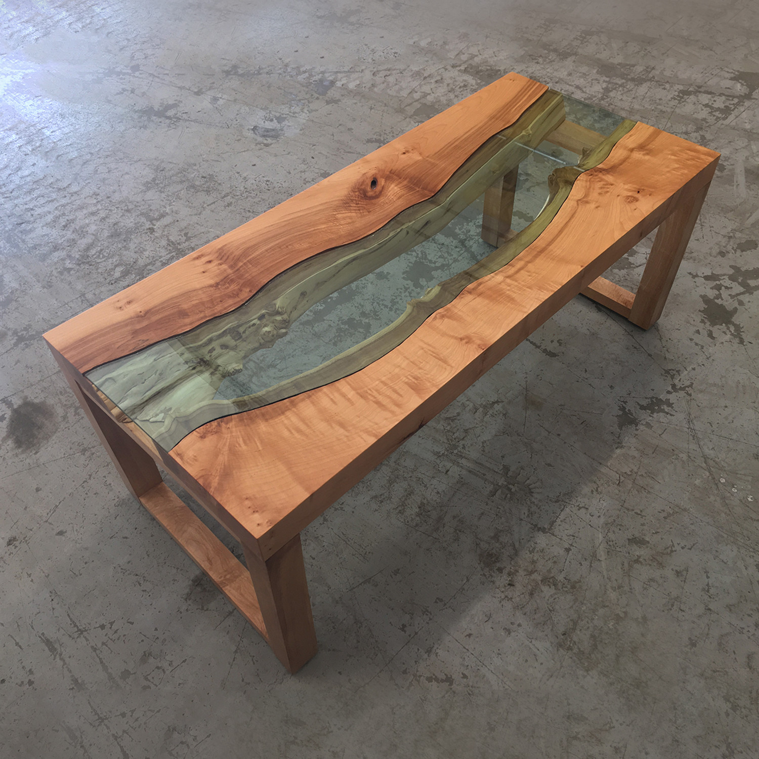River Series Coffee Table Big Leaf Maple Green Glass TGT - Maple and glass coffee table