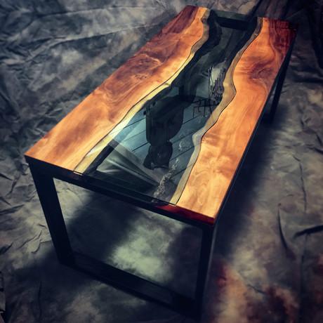 River Series Coffee Table // Black Walnut + Green Glass
