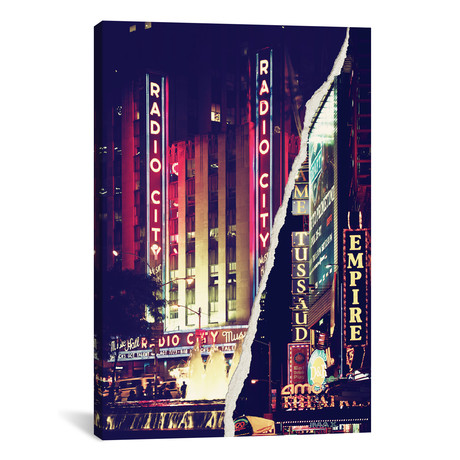 "Dual Torn Series // Times Square Theater District (18""W x 26""H x 0.75""D)"