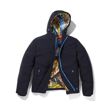 Graffiti Lined Hooded Jacket // Navy (S)