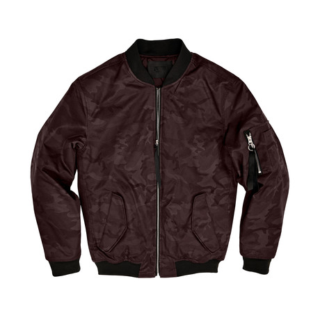 Bryant Camo Bomber Jacket // Burgundy (S)