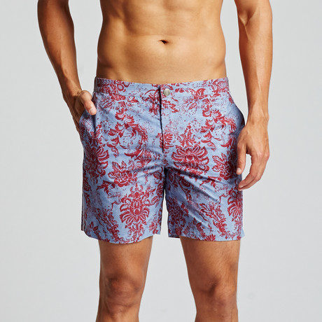 "Floral Chambray Newport 7"" Trunk // Blue + Red (29)"