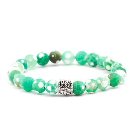 Speckled Stone + Silver Charm Beaded Bracelet // Green + White