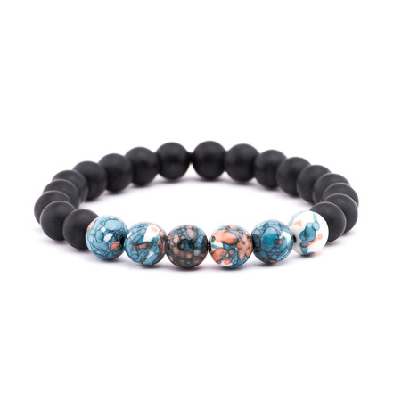 Watercolor Stone + Matte Stone Bracelet // Blue + Peach + Black