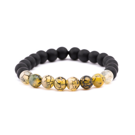 Crackle Stone + Matte Stone Bracelet // Black + Yellow