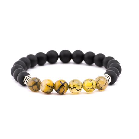 Crackle Marble Stone + Matte Stone Bracelet // Black + Yellow
