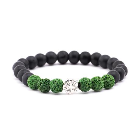 Lava Stone + Matte Stone Bracelet // Black + Green
