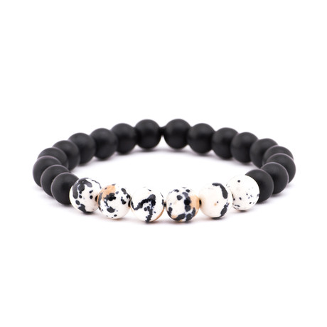 Spotted Stone + Matte Stone Bracelet // Black + White + Peach