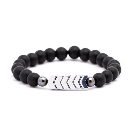 Silver Arrow + Matte Stone Bracelet // Black + Silver