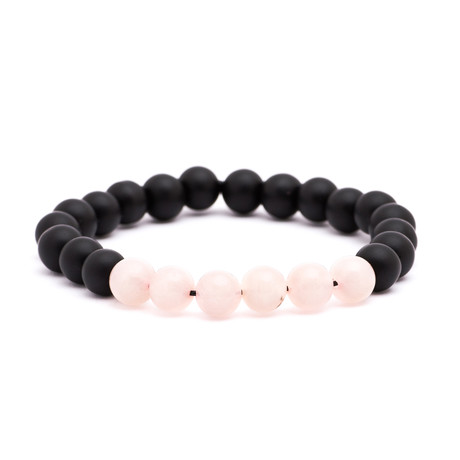 Color Blocked Stone Bracelet // Black + Pink