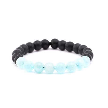 Color Blocked Stone Bracelet // Black + Light Blue