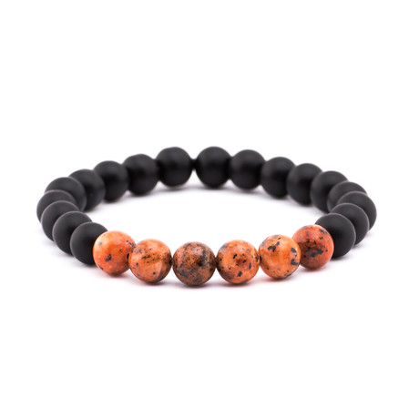 Marbled Stone + Matte Stone Bracelet // Black + Orange