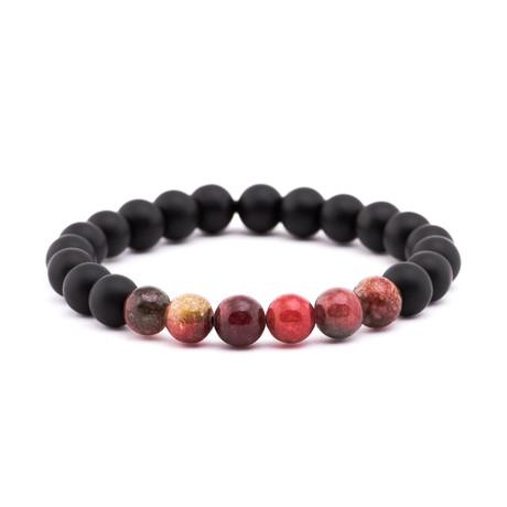 Gradient Stone + Matte Stone Bracelet // Black + Red