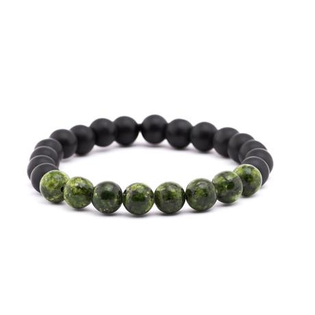 Mottled Stone + Matte Stone Bracelet // Black + Green
