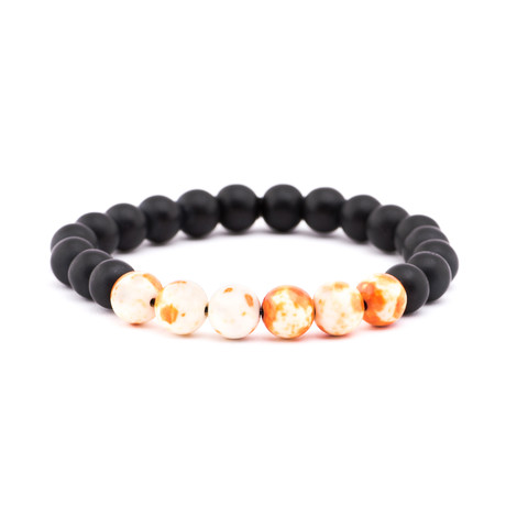 Watercolor Stone + Matte Stone Bracelet // Black + White + Orange
