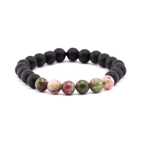 Gradient Stone + Matte Stone Bracelet // Black + Green + Brown