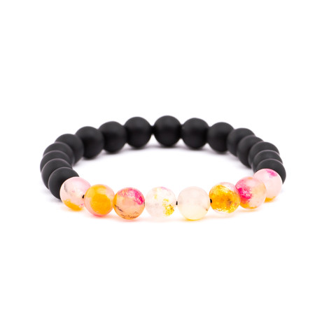 Gradient Stone + Matte Stone Bracelet // Black + Orange + Red + White