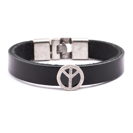 Leather Peace Charm Bracelet // Black + Pewter