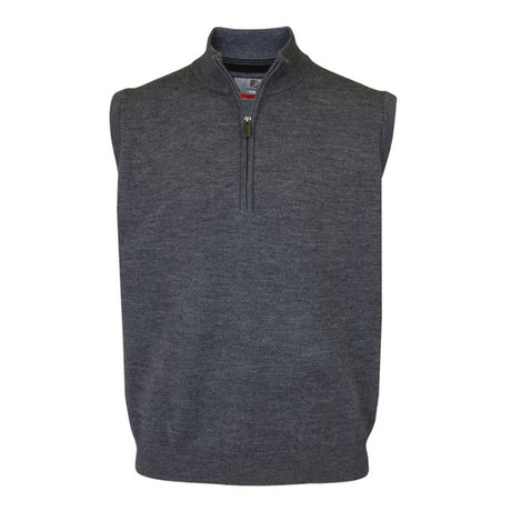Merino Wool 1/2 Zip Slipover // Grey (S)